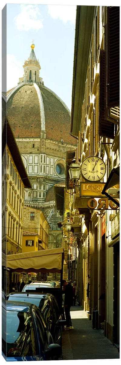 Cars parked in a street with a cathedral in the background, Via Dei Servi, Duomo Santa Maria Del Fiore, Florence, Tuscany, Italy by Panoramic Images Canvas Print