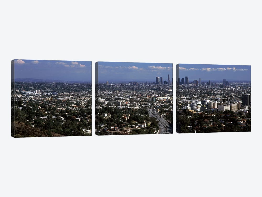 Buildings in a city, Hollywood, City Of Los Angeles, Los Angeles County, California, USA 2010 by Panoramic Images 3-piece Canvas Artwork