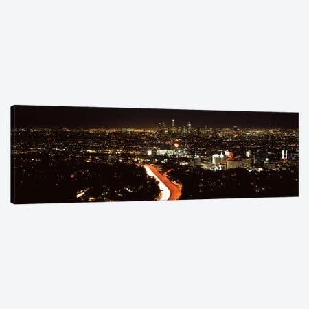 City lit up at nightHollywood, City of Los Angeles, Los Angeles County, California, USA Canvas Print #PIM8932} by Panoramic Images Canvas Art Print