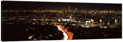 City lit up at nightHollywood, City of Los Angeles, Los Angeles County, California, USA Canvas Print #PIM8932
