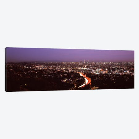 City lit up at night, City Of Los Angeles, Los Angeles County, California, USA 2010 Canvas Print #PIM8933} by Panoramic Images Art Print