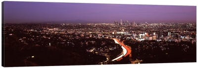 City lit up at night, City Of Los Angeles, Los Angeles County, California, USA 2010 Canvas Print #PIM8933