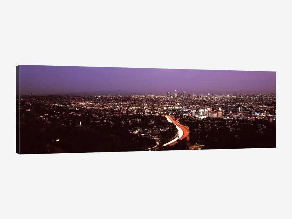 City lit up at night, City Of Los Angeles, Los Angeles County, California, USA 2010 by Panoramic Images 1-piece Canvas Print