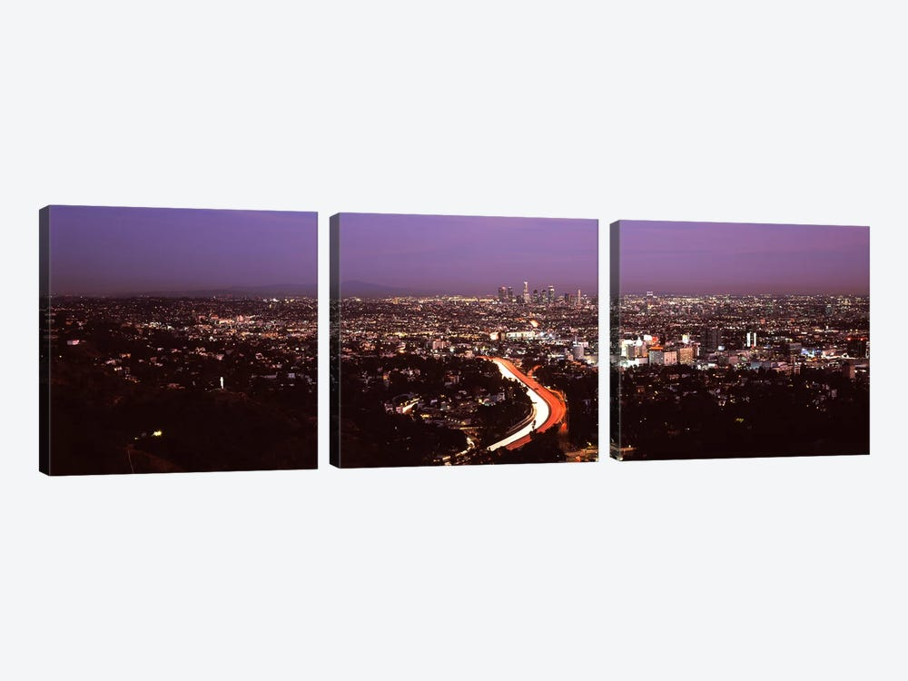 City lit up at night, City Of Los Angeles, Los Angeles County, California, USA 2010 by Panoramic Images 3-piece Art Print