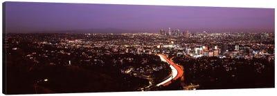 City lit up at night, City Of Los Angeles, Los Angeles County, California, USA 2010 Canvas Art Print