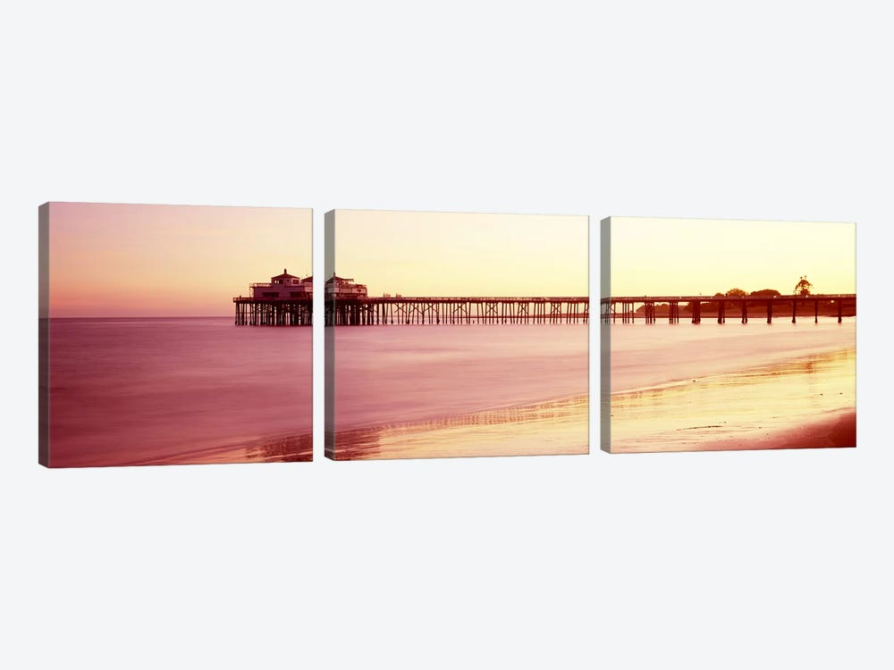Pier at sunrise, Malibu Pier, Malibu, Los Angeles County, California, USA by Panoramic Images 3-piece Canvas Art
