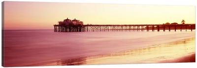 Pier at sunrise, Malibu Pier, Malibu, Los Angeles County, California, USA Canvas Art Print