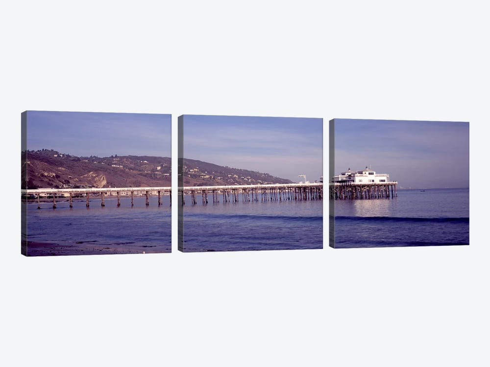 Pier over an ocean, Malibu Pier, Malibu, Los Angeles County, California, USA by Panoramic Images 3-piece Canvas Art Print