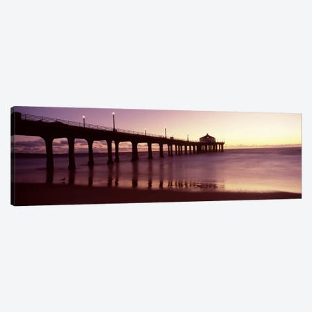 Silhouette of a pier, Manhattan Beach Pier, Manhattan Beach, Los Angeles County, California, USA Canvas Print #PIM8936} by Panoramic Images Canvas Wall Art