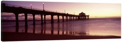Silhouette of a pier, Manhattan Beach Pier, Manhattan Beach, Los Angeles County, California, USA Canvas Art Print