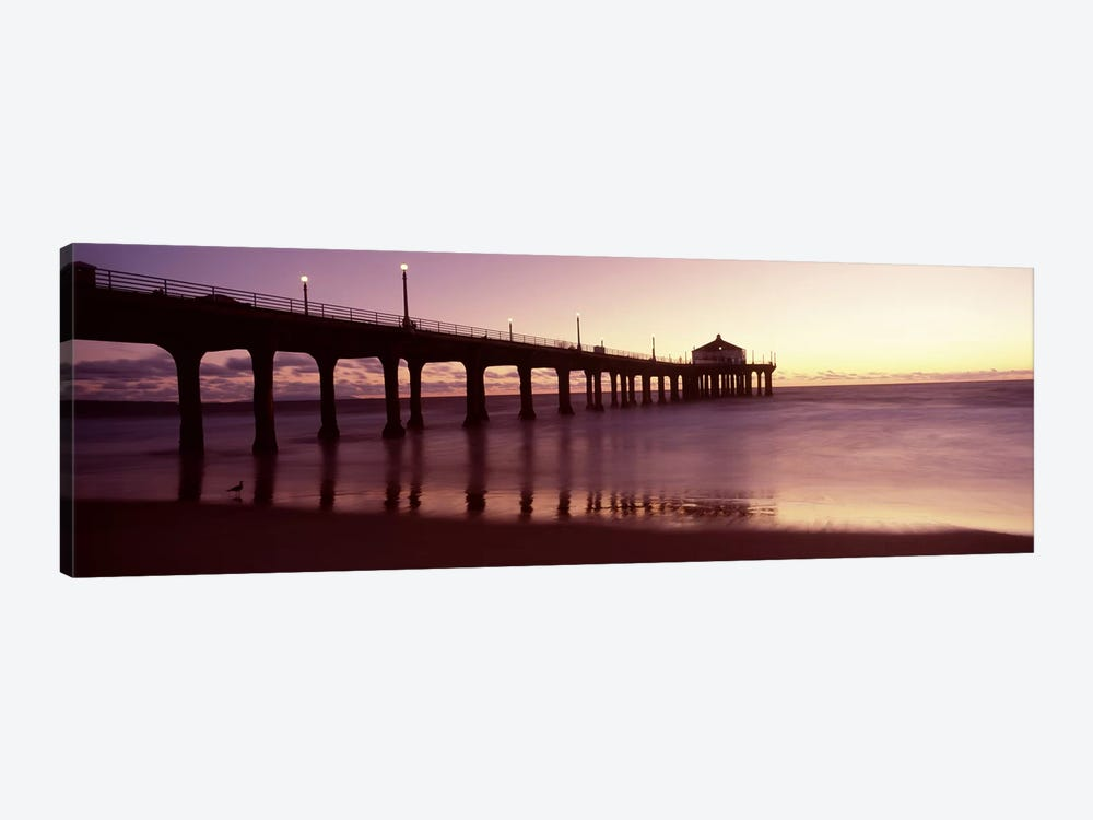 Silhouette of a pier, Manhattan Beach Pier, Manhattan Beach, Los Angeles County, California, USA by Panoramic Images 1-piece Canvas Wall Art