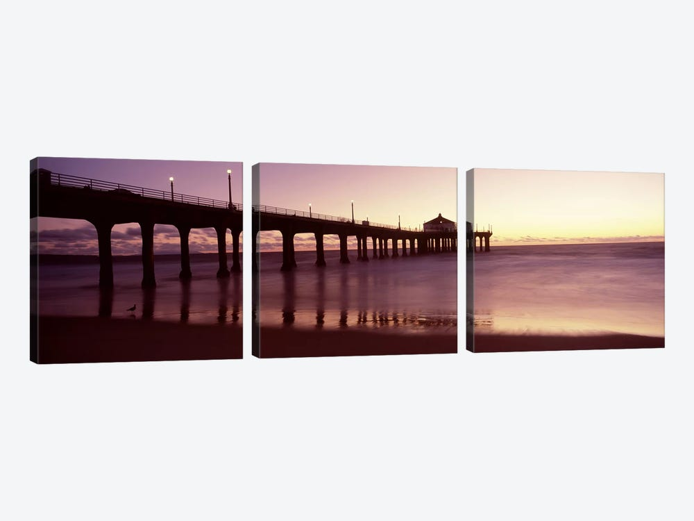 Silhouette of a pier, Manhattan Beach Pier, Manhattan Beach, Los Angeles County, California, USA by Panoramic Images 3-piece Canvas Art
