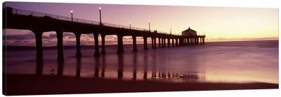 Silhouette of a pier, Manhattan Beach Pier, Manhattan Beach, Los Angeles County, California, USA Canvas Art Print