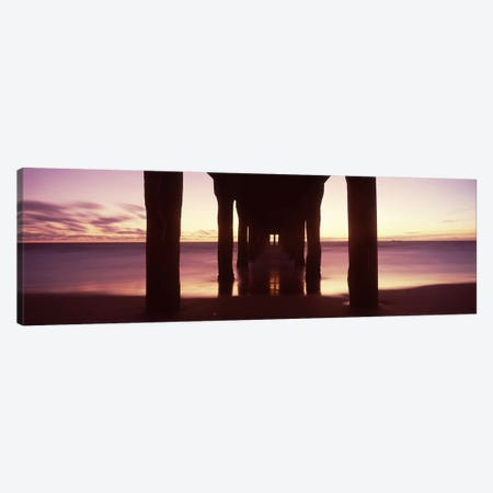 Silhouette of a pier, Manhattan Beach Pier, Manhattan Beach, Los Angeles County, California, USA #2 Canvas Print #PIM8937} by Panoramic Images Canvas Wall Art