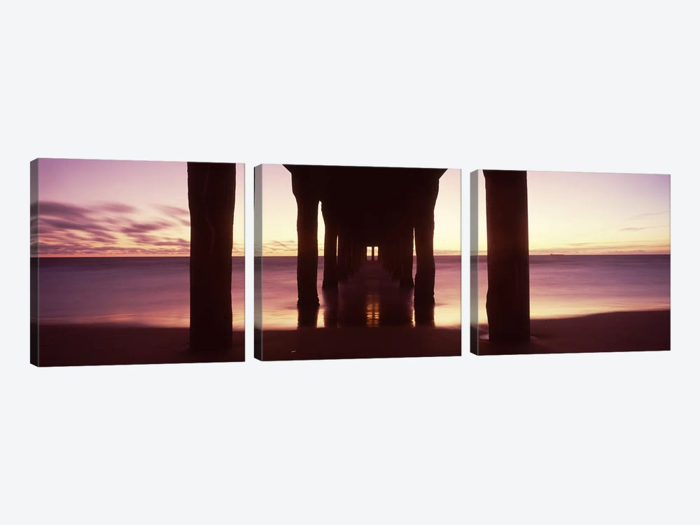 Silhouette of a pier, Manhattan Beach Pier, Manhattan Beach, Los Angeles County, California, USA #2 by Panoramic Images 3-piece Canvas Print