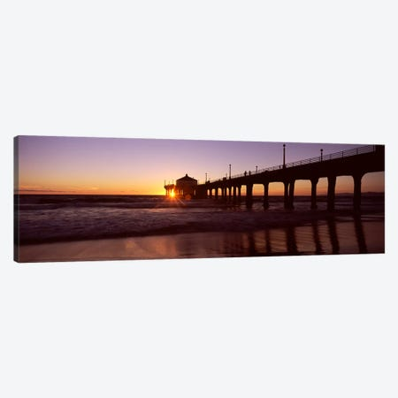 Silhouette of a pier, Manhattan Beach Pier, Manhattan Beach, Los Angeles County, California, USA #3 Canvas Print #PIM8938} by Panoramic Images Art Print