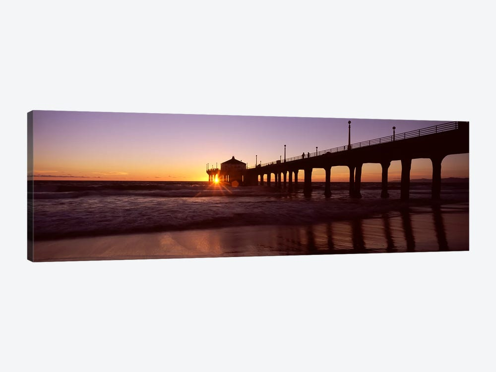 Silhouette of a pier, Manhattan Beach Pier, Manhattan Beach, Los Angeles County, California, USA #3 by Panoramic Images 1-piece Canvas Artwork