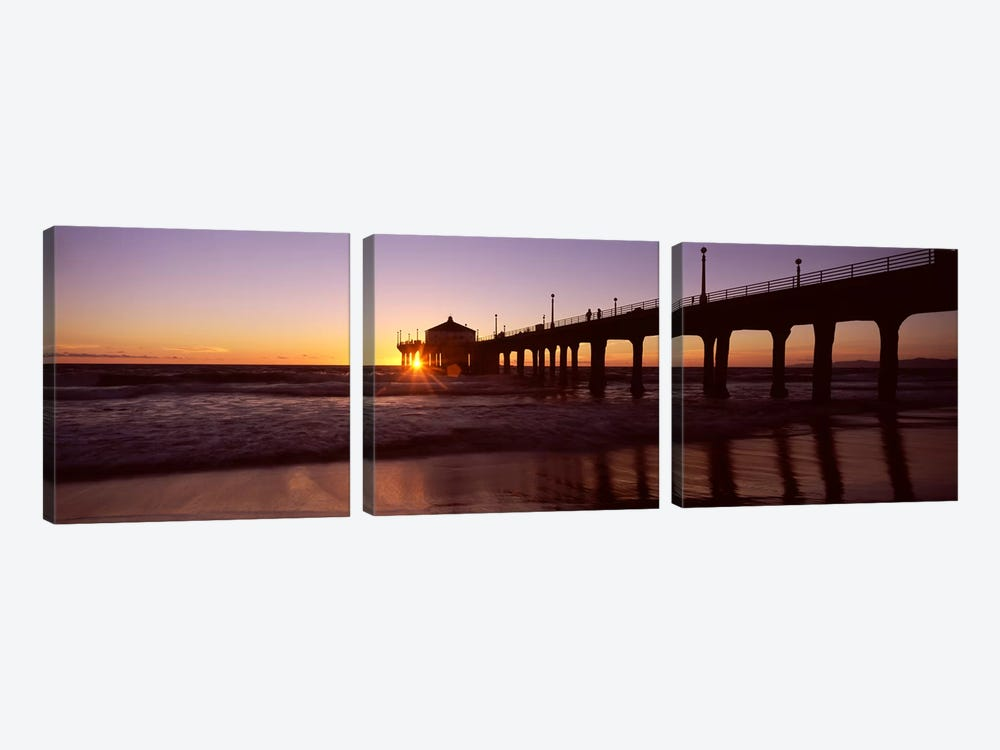 Silhouette of a pier, Manhattan Beach Pier, Manhattan Beach, Los Angeles County, California, USA #3 by Panoramic Images 3-piece Canvas Wall Art