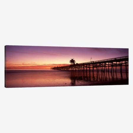 Silhouette of a pier, San Clemente Pier, Los Angeles County, California, USA Canvas Print #PIM8939} by Panoramic Images Canvas Art Print