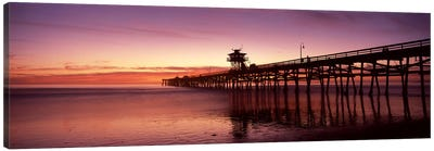 Silhouette of a pier, San Clemente Pier, Los Angeles County, California, USA Canvas Art Print
