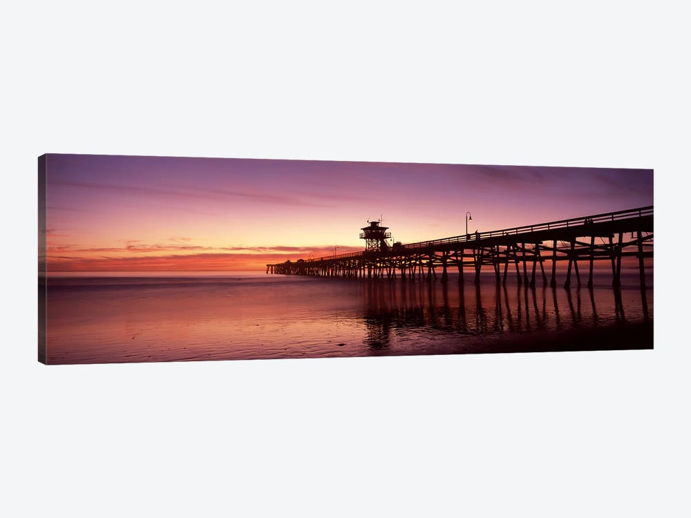 Silhouette of a pier, San Clemente Pier, Los Angeles County, California, USA 1-piece Art Print