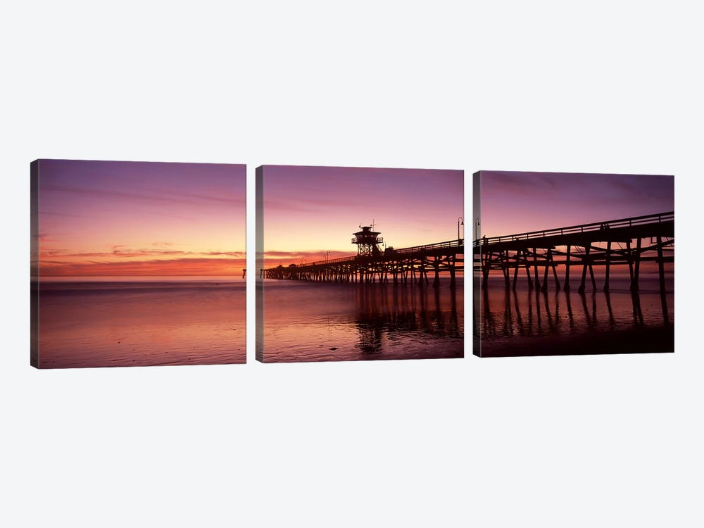 Silhouette of a pier, San Clemente Pier, Los Angeles County, California, USA 3-piece Canvas Art Print