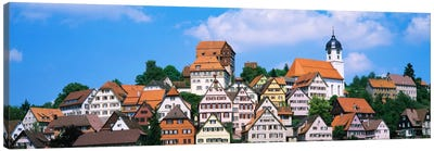 Buildings on a hill, Altensteig, Black Forest, Germany Canvas Art Print