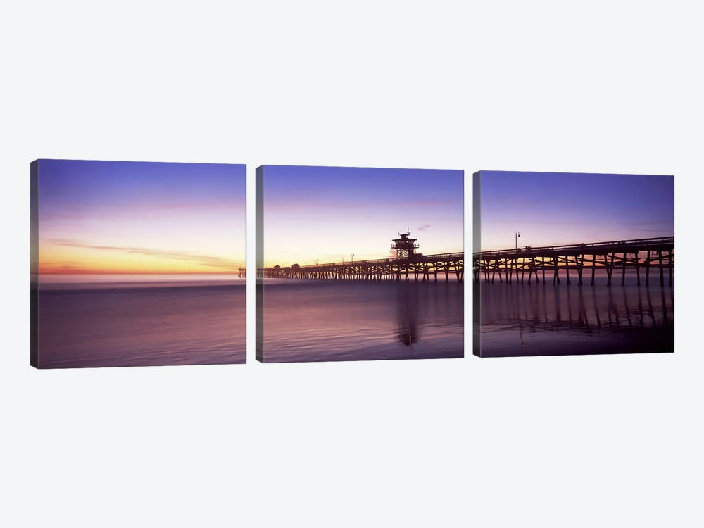 Silhouette of a pier, San Clemente Pier, Los Angeles County, California, USA #2 by Panoramic Images 3-piece Art Print