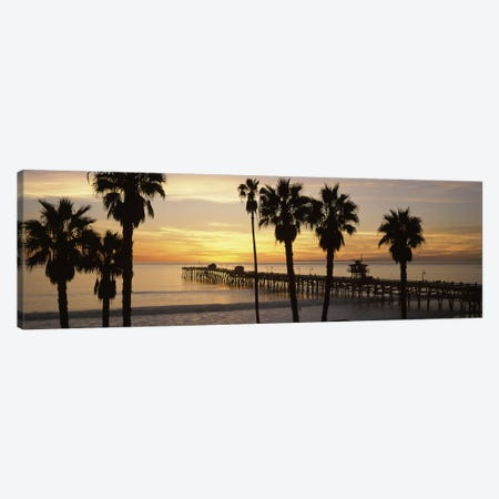 Silhouette of a pier, San Clemente Pier, Los Angeles County, California, USA #3 Canvas Print #PIM8941} by Panoramic Images Canvas Artwork