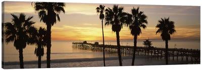 Silhouette of a pier, San Clemente Pier, Los Angeles County, California, USA #3 Canvas Print #PIM8941