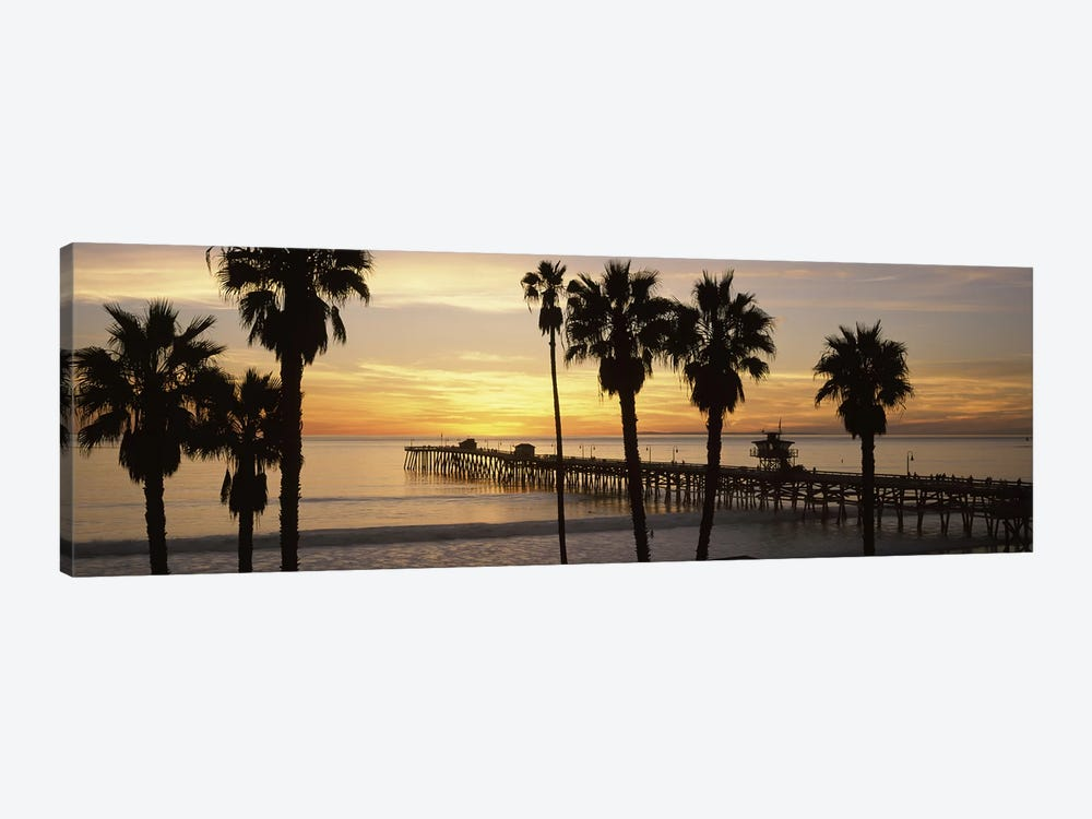 Silhouette of a pier, San Clemente Pier, Los Angeles County, California, USA #3 by Panoramic Images 1-piece Canvas Wall Art