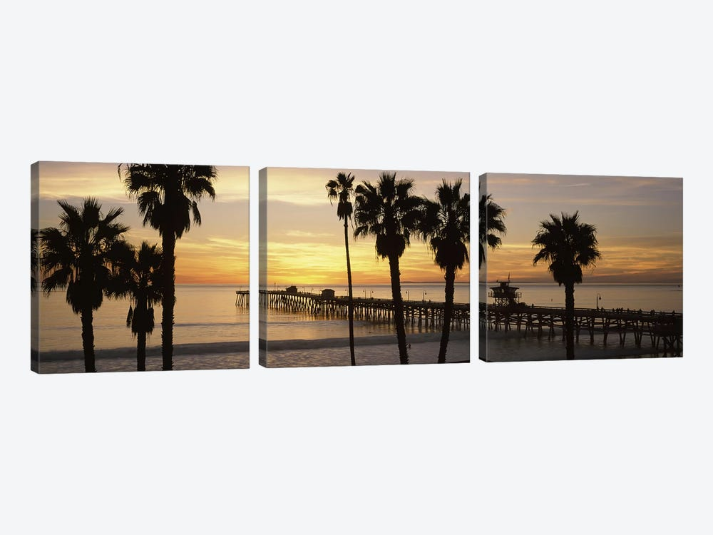 Silhouette of a pier, San Clemente Pier, Los Angeles County, California, USA #3 by Panoramic Images 3-piece Canvas Wall Art