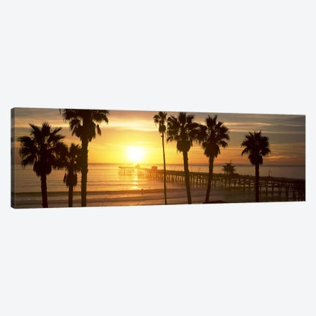 Silhouette of a pier, San Clemente Pier, Los Angeles County, California, USA #4 Canvas Print #PIM8942} by Panoramic Images Canvas Artwork