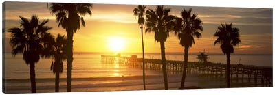 Silhouette of a pier, San Clemente Pier, Los Angeles County, California, USA #4 Canvas Art Print