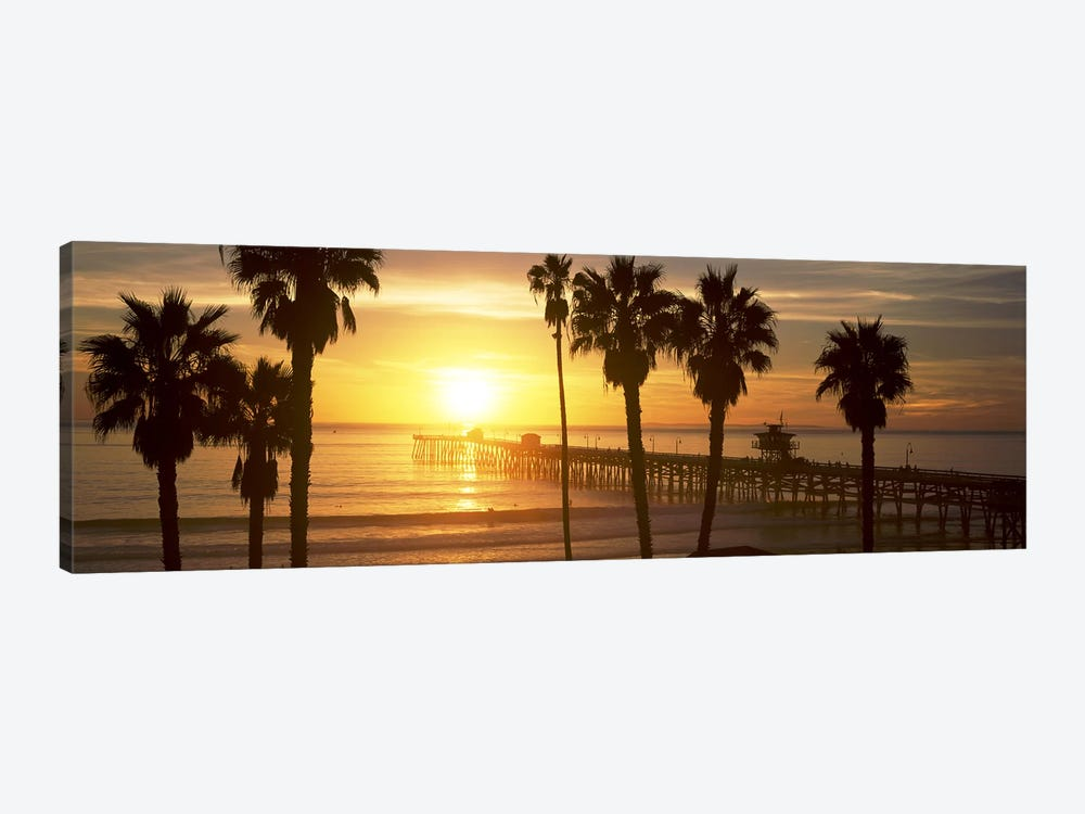 Silhouette of a pier, San Clemente Pier, Los Angeles County, California, USA #4 by Panoramic Images 1-piece Canvas Print