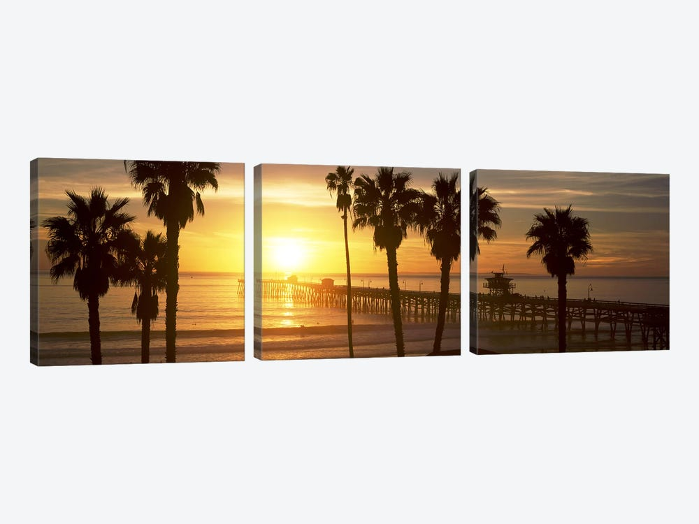 Silhouette of a pier, San Clemente Pier, Los Angeles County, California, USA #4 by Panoramic Images 3-piece Canvas Print