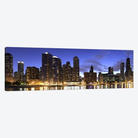Night Skyline, Lake Michigan, Chicago, Cook County, Illinois, USA 2010 Canvas Print #PIM8944} by Panoramic Images Canvas Art Print