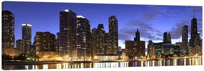 Night Skyline, Lake Michigan, Chicago, Cook County, Illinois, USA 2010 Canvas Art Print
