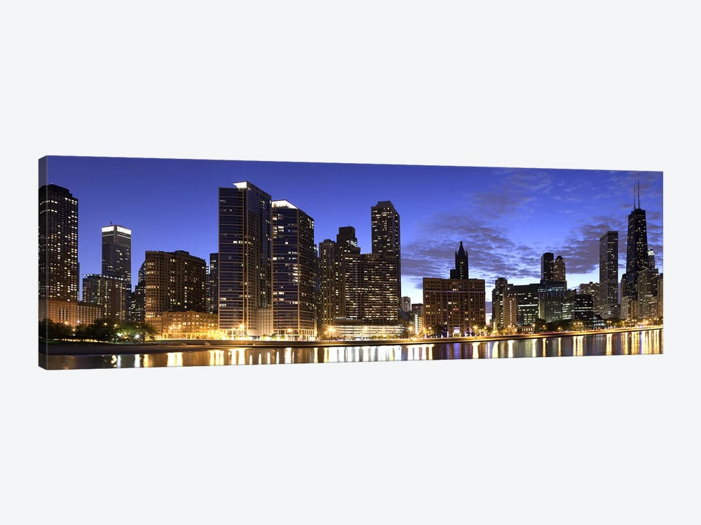 Night Skyline, Lake Michigan, Chicago, Cook County, Illinois, USA 2010 by Panoramic Images 1-piece Art Print