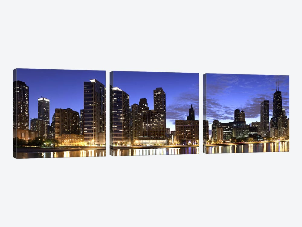 Night Skyline, Lake Michigan, Chicago, Cook County, Illinois, USA 2010 by Panoramic Images 3-piece Art Print
