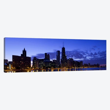 Lit up buildings at the waterfront, Lake Michigan, Chicago, Cook County, Illinois, USA 2010 Canvas Print #PIM8946} by Panoramic Images Canvas Print
