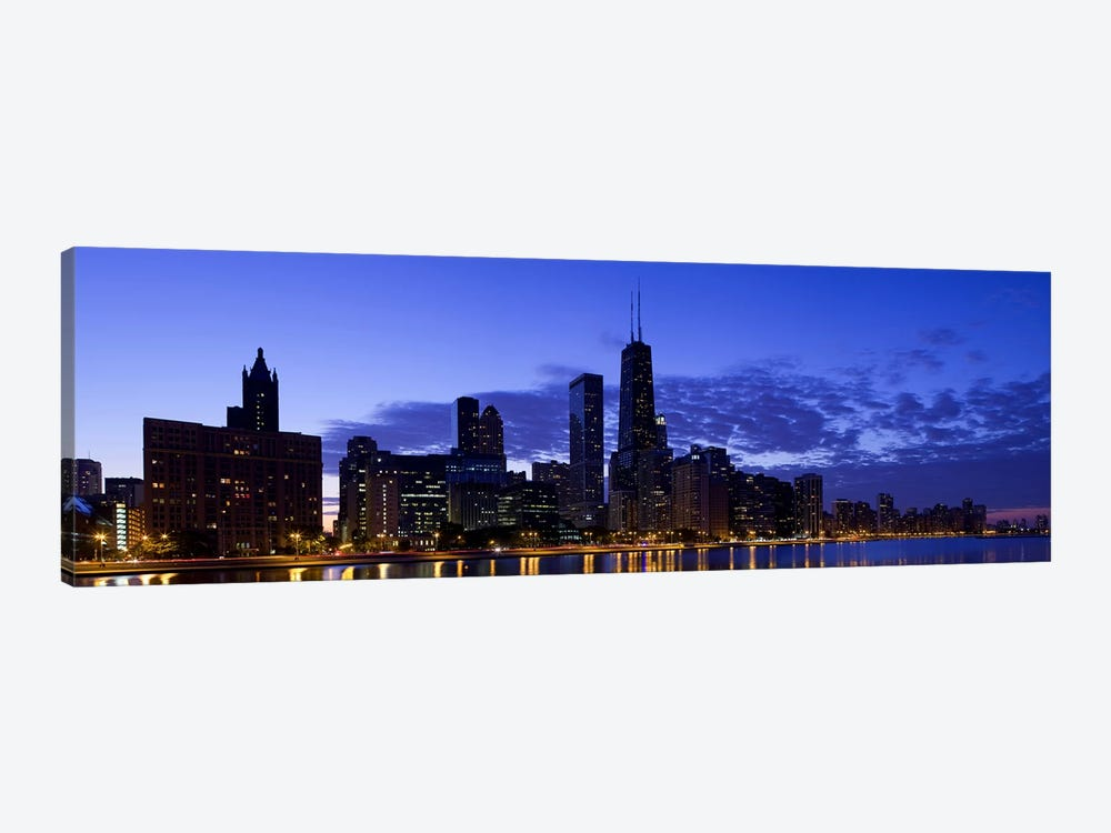 Lit up buildings at the waterfront, Lake Michigan, Chicago, Cook County, Illinois, USA 2010 by Panoramic Images 1-piece Art Print