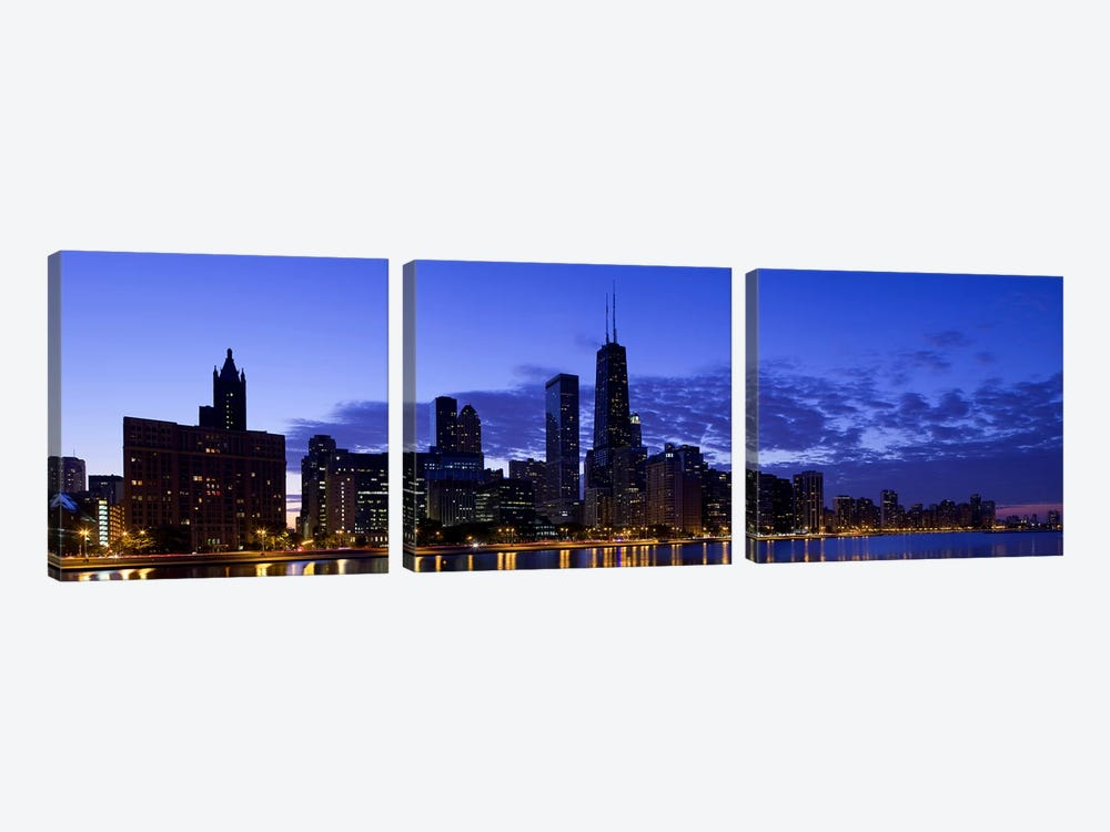 Lit up buildings at the waterfront, Lake Michigan, Chicago, Cook County, Illinois, USA 2010 by Panoramic Images 3-piece Canvas Art Print