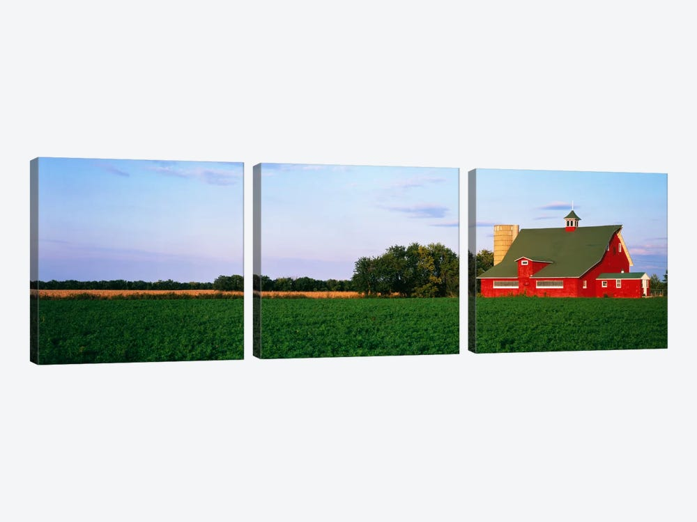 Red Barn Kankakee IL USA by Panoramic Images 3-piece Canvas Art
