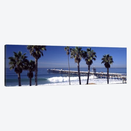 Pier over an ocean, San Clemente Pier, Los Angeles County, California, USA Canvas Print #PIM8954} by Panoramic Images Canvas Artwork