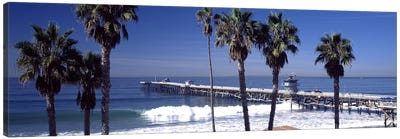 Pier over an ocean, San Clemente Pier, Los Angeles County, California, USA Canvas Art Print