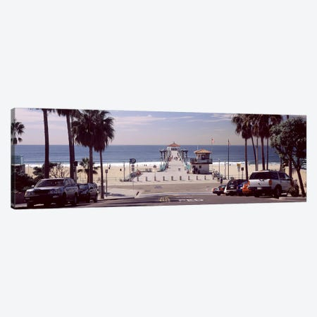 Pier over an ocean, Manhattan Beach Pier, Manhattan Beach, Los Angeles County, California, USA Canvas Print #PIM8955} by Panoramic Images Canvas Artwork