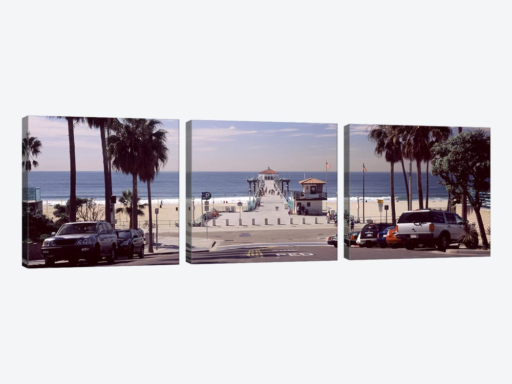 Pier over an ocean, Manhattan Beach Pier, Manhattan Beach, Los Angeles County, California, USA by Panoramic Images 3-piece Canvas Print