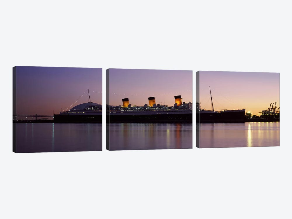 RMS Queen Mary in an ocean, Long Beach, Los Angeles County, California, USA by Panoramic Images 3-piece Canvas Artwork