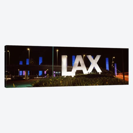 Neon sign at an airport, LAX Airport, City Of Los Angeles, Los Angeles County, California, USA Canvas Print #PIM8957} by Panoramic Images Canvas Wall Art